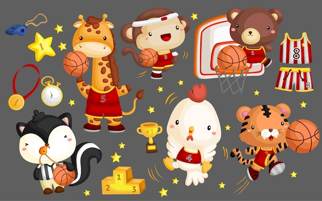バスケットボールの動物のベクトルセット