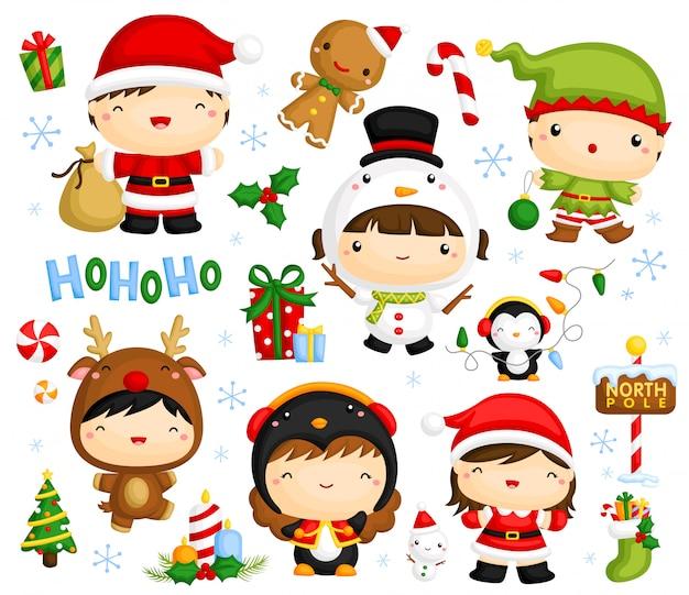 Симпатичные рождественские дети векторный набор