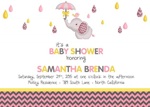 象の赤ちゃんの女の子シャワーの招待状