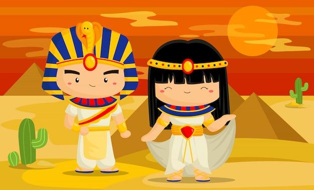 かわいいエジプトのコスチュームと背景