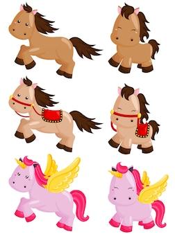 馬とユニコーンベクトルセット