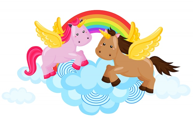 Радужная лошадь и единорог