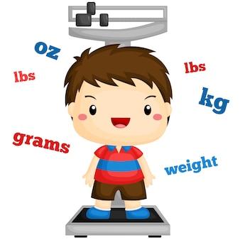 自分の体重を量る少年