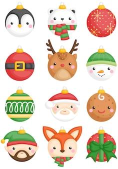 動物とキャラクタークリスマスボール