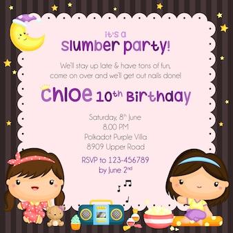 パジャマパーティー誕生日の招待状