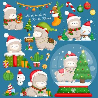 Лама рождественский векторный набор
