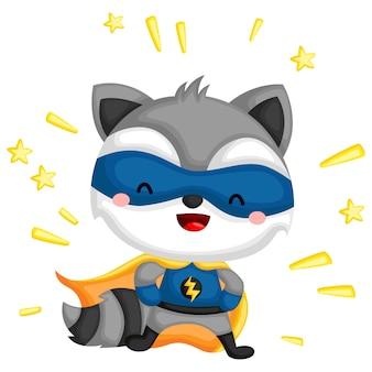 スーパーヒーローに扮したアライグマ