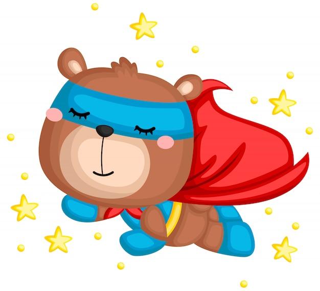 Вектор медведя в костюме супергероя