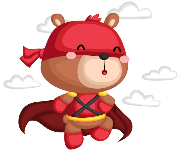 スーパーヒーローの衣装でクマのベクトル