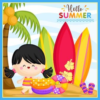 こんにちは夏の女の子