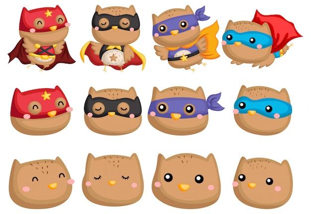 フクロウのスーパーヒーローコレクション