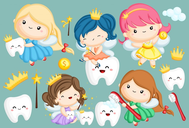 さまざまな色で多くの歯の妖精のベクトルを設定
