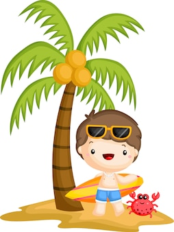 ココナッツの木の下に立っているサーファー