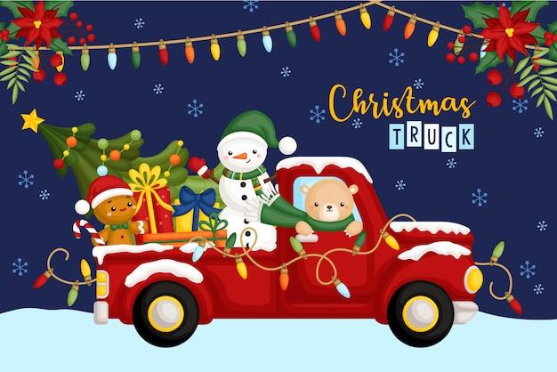Рождественский грузовик ночью