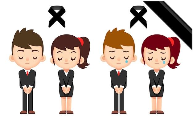 Мужские и женские характеры носят траурную одежду