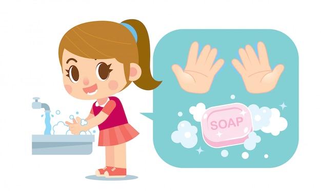 かわいい女の子は、石鹸と手のアイコンで手を洗う