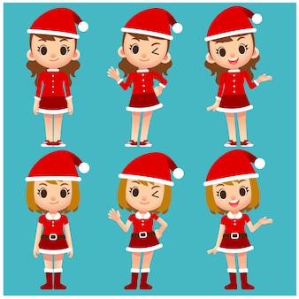 サンタクロースの衣装でかわいい女性のキャラクターのベクトルセット