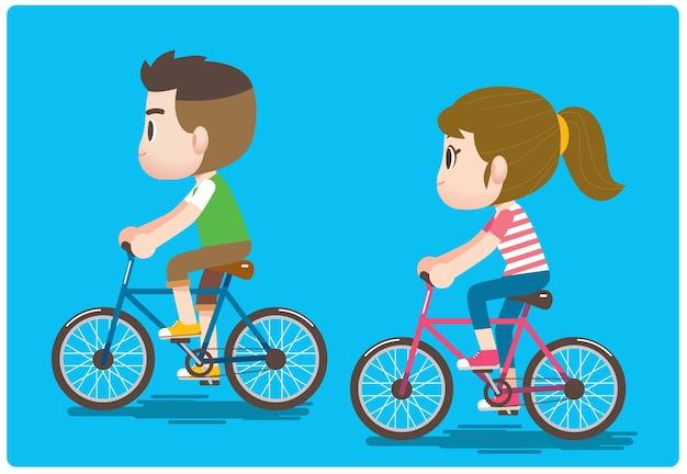 Мужчина и женщина, персонажи, катающиеся на велосипеде вместе.