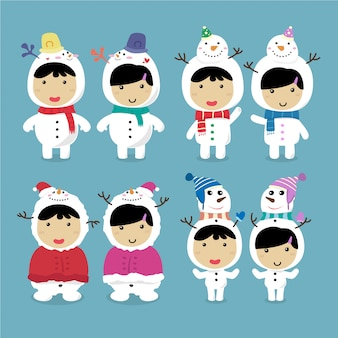 キャラクターデザインかわいい子供たちが雪だるまコスチュームセットを着ている