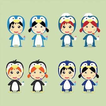 キャラクターデザインペンギンのコスチュームセットを着たかわいい子供たち。