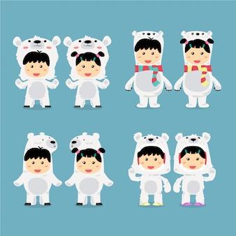 キャラクターデザインポーラーベアコスチュームセットをかわいい子供たち。