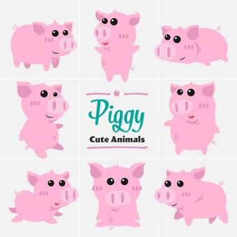 ピギー豚の漫画動物