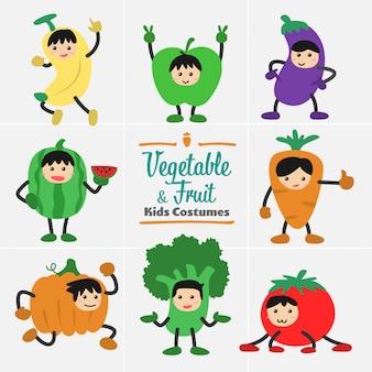 キャラクターデザインかわいい子供の果物と野菜の衣装セット。