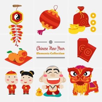 中国の新年デザイン要素