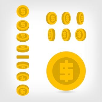 異なるポジションドルコインはフラットスタイルを設定します。