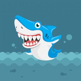 Акула симпатичный дизайн персонажей мультфильма.