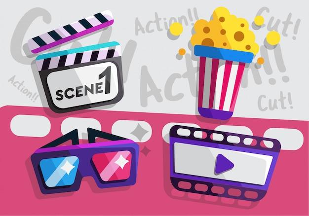 映画館と映画のフラットアイコン
