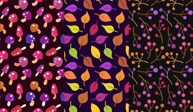 きのこ、葉、秋のベリー柄