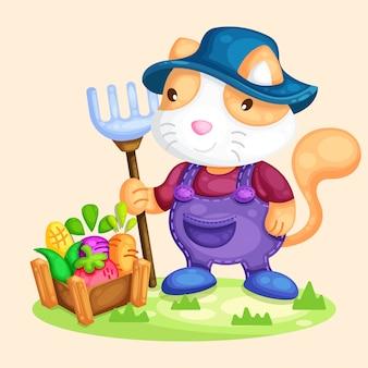 野菜イラストを収穫かわいい猫農家