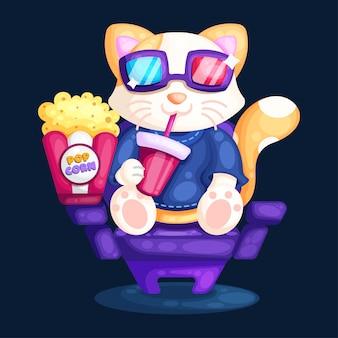 映画館のイラストで映画を見ている猫