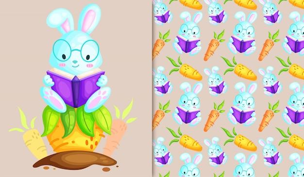本のイラストとパターンを読んでかわいいウサギ