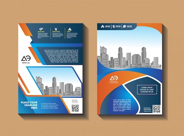 Современный макет брошюры на фоне города