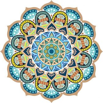 マンダラ花花オリエンタルパターンベクトルイラストイスラム教アラビア語インドのトルコパキスタンオスマンモチーフ