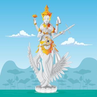 サラスワティ像-知識のヒンドゥー教の女神