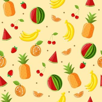 トロピカルフルーツのシームレスパターン