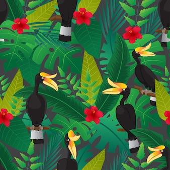 サイチョウ鳥と森のシームレスパターン