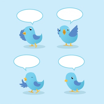 スピーチの風船で青い鳥を話す