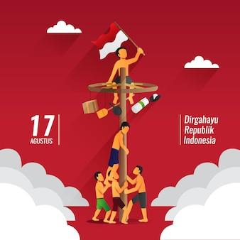 独立記念日のインドネシアの伝統的なゲーム、パンジャットピナン、ポールクライミング