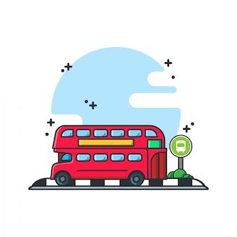 Автобусная остановка дизайн иллюстрации мультяшный стиль