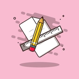 文房具イラスト付きメモ用紙。教育アイコンコンセプトホワイトが分離されました。