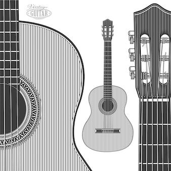 Акустическая гитара в стиле гравюры