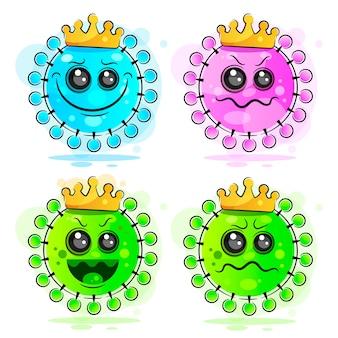 中東呼吸器症候群コロナウイルス新しいコロナウイルス、周辺のウイルスのフラットシルエット文字