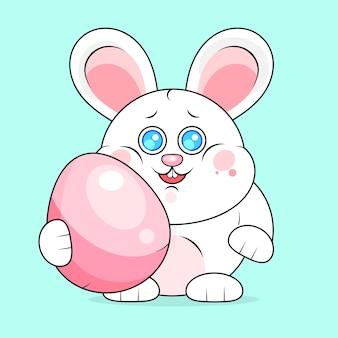 Творческий фон счастливой пасхи с кроликом и яйцами