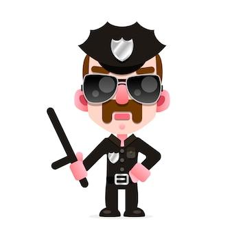 アメリカの警察の制服を着た警察官