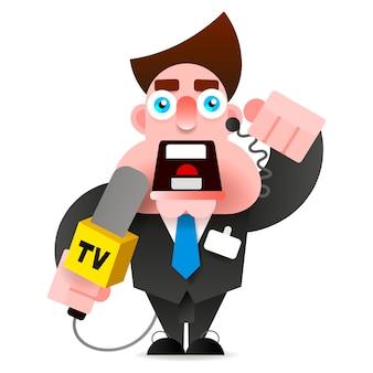 手にマイクを使って記者ニュースをリード
