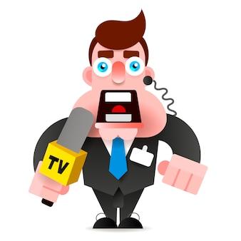 Репортер с микрофоном в руке ведет новости